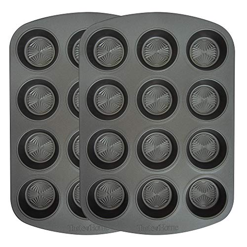 Taste of Home Set of 2-12-cup Non-Stick Metal Muffin Pan