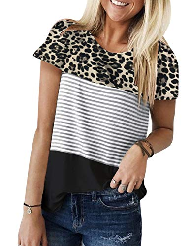 Great Features Of Kimiee Women's Summer Striped Short Sleeve Blouse Junior Casual Tunic Tops T Shirt