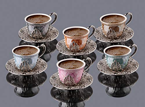 LaModaHome Espresso Coffee Cups with Saucers Set of 6, Porcelain Turkish Arabic Greek Coffee Cup and Saucer, Coffee Cup for Women, Men, Adults, New Home Wedding Gifts - Silver/Mixed Color