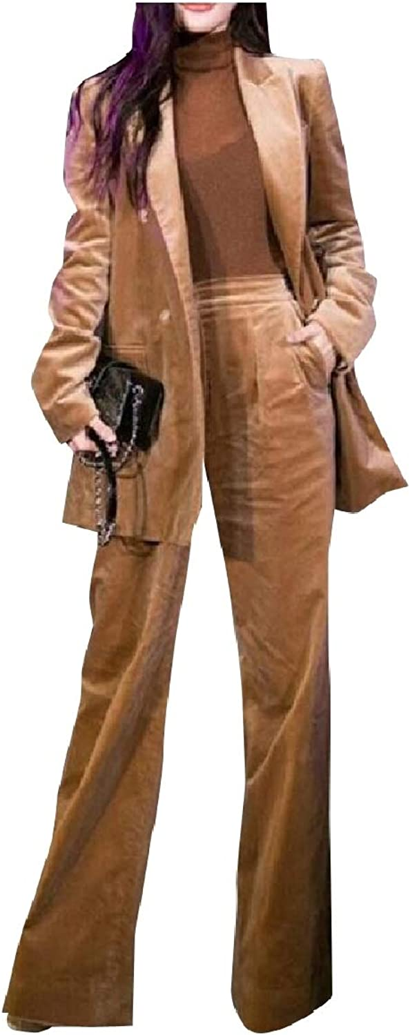 Coolhere Womens Party Casual Blazer Wide Leg Pants 2 Pieces Outfits Suit