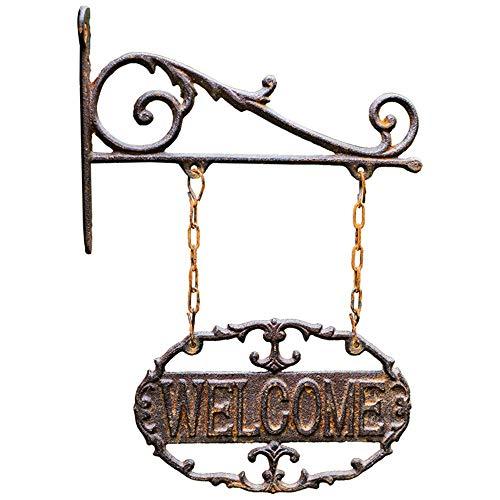 KDOAE Señal de Bienvenida Bienvenido Fundido Hierro sesión Colgar de la Pared de la Puerta número Antiguo decoración del jardín al Aire Libre Villa Decoración Colgante del Porche