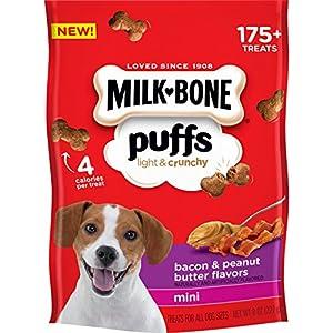 Milk-Bone Puffs Dog Treats, Bacon & Peanut Butter Flavors, Mini Treats, 8 Ounces (Pack of 4)