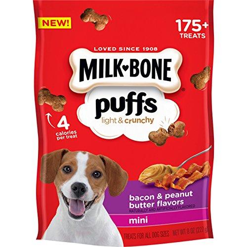 Milk-Bone Puffs Dog Treats, Peanut Butter & Bacon Flavors, Mini Treats, 8 Ounces