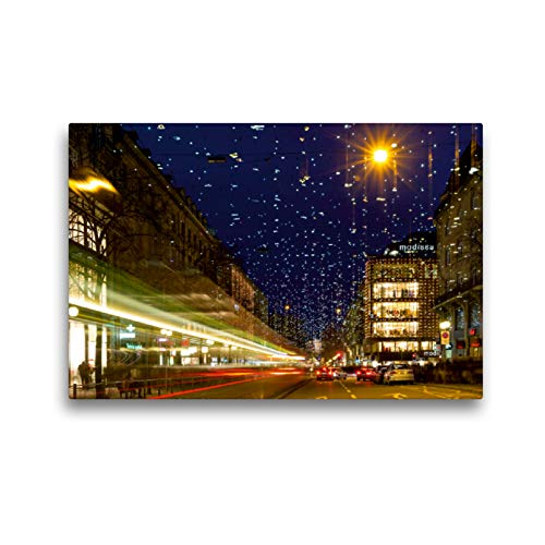 CALVENDO Premium Textil-Leinwand 45 x 30 cm Quer-Format Bahnhofstrasse in Zürich mit Weihnachtsbeleuchtung, Leinwanddruck von Enrico Caccia