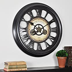 FirsTime & Co. Gear Works Wall Clock, American Crafted, Metallic Black, 24 x 2 x 24, (10032)