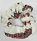 University of Alabama Hair Scrunchie-Alabama Crimson Tide Hair Bow; Hair Tie; Officially Licensed-Many Patterns to Choose From (White Ground Cotton)
