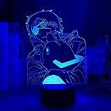 Luz de noche LED 3D para niños, motosierra de anime y luz de hombre para niños decorativos, lámpara de hombre con motosierra de manga, mesita de noche para dormitoriocumpleaños