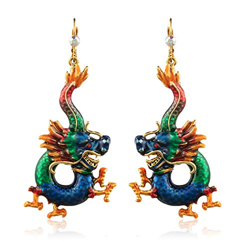 Superchic Handmade Blue and Green Enamel Dangle Dragon Hoop Earrings Embedded with Austrian Crystals in 24K Gold plating (Blue)