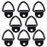 Gobesty Cargo Ancoraggi da annodare, 8 pezzi, in acciaio inox con anelli a V per legare gli anelli ad anello, resistenti per camion e magazzino, rimorchi, corde di ancoraggio (nero)