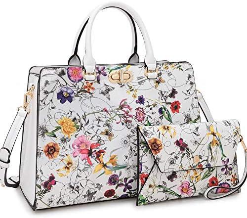 Women Handbags Fashion Satchel Purses Top Handle Tote Work Bags Shoulder Bags with Matching Clutch 2pcs Set