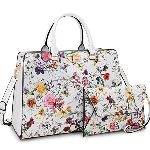 Dasein Women Handbags Fashion Satchel Purses Top Handle Tote Work Bags Shoulder Bags with Matching Clutch 2pcs Set (floral white)
