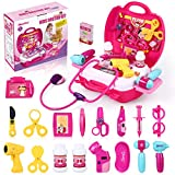 iBaseToy Doctor Kit for Girls, Rose Red Doctor kit for Kids 29 Pieces Pretend Play Doctor Set with Carrying Case, Medical Toy Set Gifts for Kids Girls Toddlers