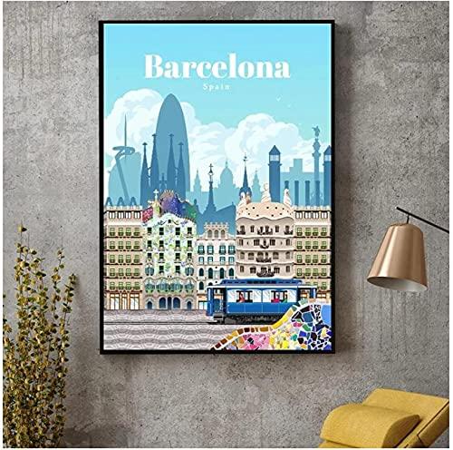 YHJK Lienzo de Pintura a Barcelona, Lienzo de Viaje, póster de Viaje, impresión, hogar, Arte de Pared, decoración, Pintura, estética, 50x70 cm sin Marco