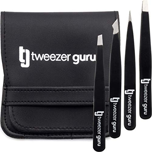 Tweezer Guru Eyebrow Tweezer Set (4-Piece) for Women & Men - Professional Slant and Pointed Tweezers Set with Case - Precision Tweezers Kit for Facial Hair, Splinter and Ingrown Hair Removal
