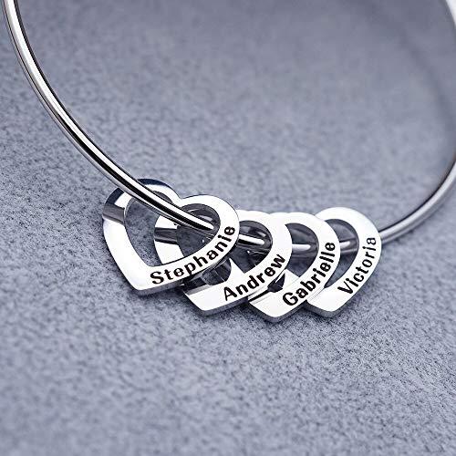 WWWL Pulsera de Pareja Pulseras Personalizadas de corazón de Acero Inoxidable Pulseras de Nombres Grabados Personalizados & Brazaletes para Mujer. 4Hearts-Steel