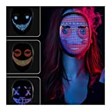 N / B Máscara LED con programable, Máscara Bluetooth, Máscara LED a Todo Color para Halloween, para Disfraces Fiesta de Disfraces de Cosplay, Máscara más Fresca 2021