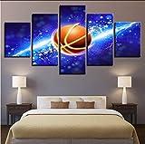 Decoración del hogar Pintura de la Lona Impresiones HD 5 Unidades Jugador de Básquetbol Arte de la Pared Sala de estar Imágenes Modulares Ilustraciones Cartel 40x60x2 40x80x2 40x100cm