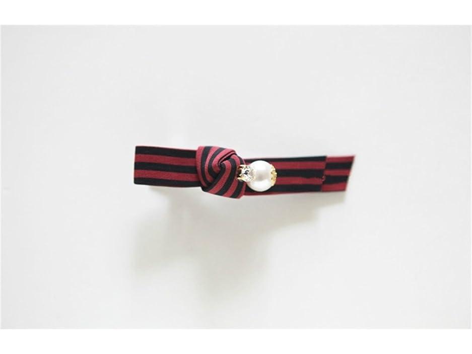 スツール条件付きボールOsize 美しいスタイル ストライプパールラインストーンヘアピン劉シーサイドクリップダックビルクリップ(赤いストライプ)