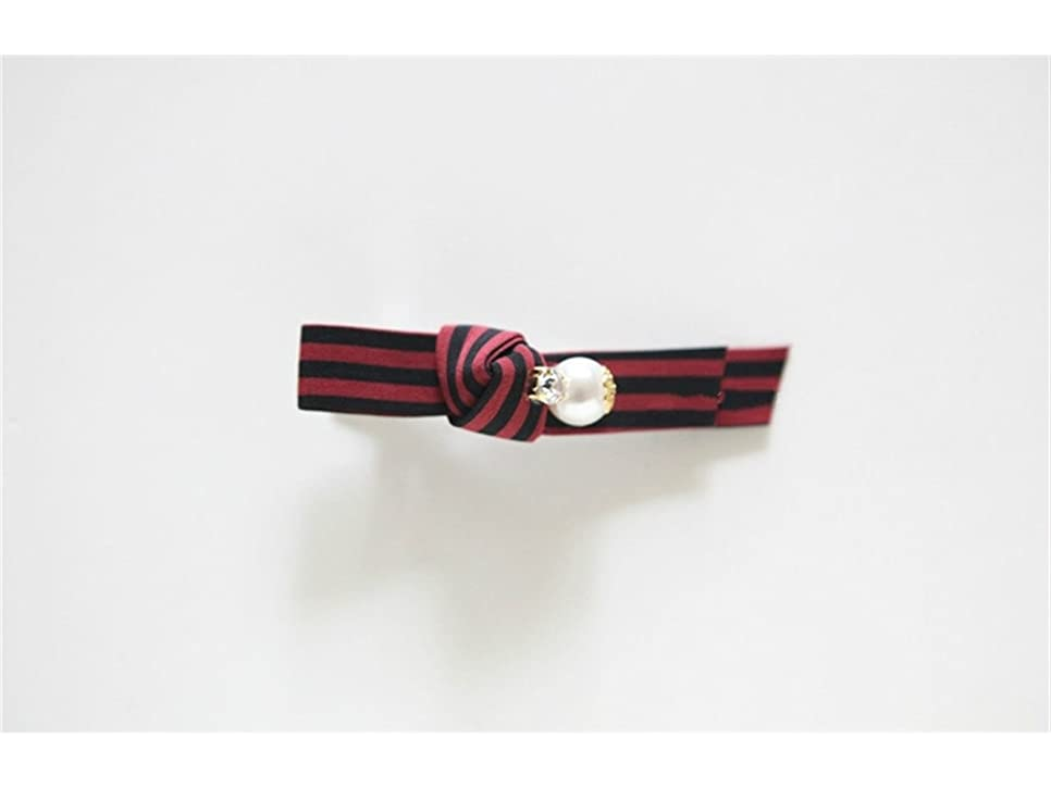 形関係ダースOsize 美しいスタイル ストライプパールラインストーンヘアピン劉シーサイドクリップダックビルクリップ(赤いストライプ)