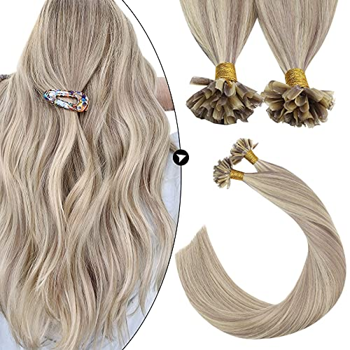 Ugeat 18Pouces Highlight Extensions Cheveux Keratine Naturel Lisse U Tips Blond Cendre et Bleach Blond #P18/613 Pre Bonded Keratine Remy Hair 1Gramme/Brin 50Grammes/Set