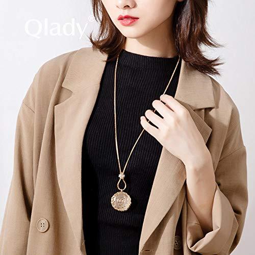 Damenketten Pullover Halskette Pullover Kette weiblichen langen Absatz Lanyard einfache neue Mode Retro großen Anhänger süß