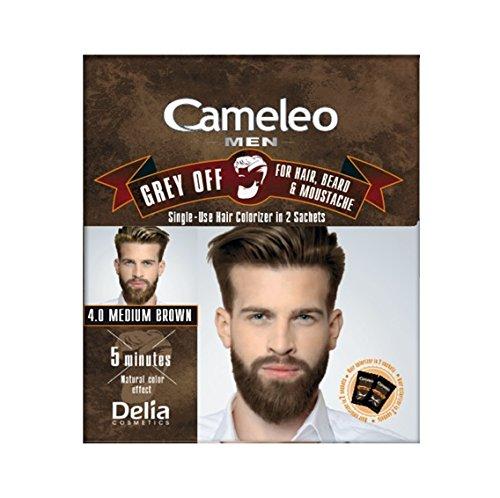 Cameleo Men Color Cream Grey OFF Colorizer à usage unique en 2 sachets pour cheveux, barbe et moustache 5 min. Effet de couleur naturelle! 0% Parabens Ammoniaque PPD (Brun moyen)