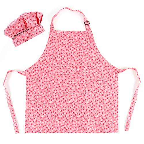 Kids Apron and Chef Hat Set, Adjustable Cotton Child Aprons with 2 Pockets Cute Girls Boys Kitchen Bib Aprons for Cooking Baking Painting