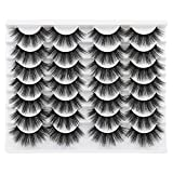 14 Pairs Fluffy False Eyelashes FANXITON Faux Mink Lashes 3D Volume Eyelashes Pack