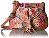 Anna by Anuschka, handpainted Leather Flap Hobo,vintage Garden