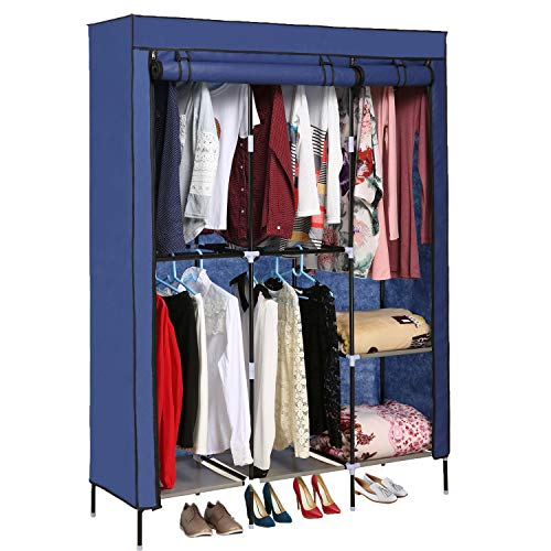 OppsDecor Portable Clothes Closet Non-Woven Fabric Wardrobe with Double Rod Shelves Freestanding...