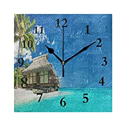 FunnyCustom Beach Sunset Landscape Palm Tree Square Wall Clock 7.8 Inch Hanging Clock for Living Room/Kitchen/Bedroom