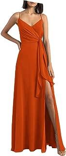 Spaghetti Straps Slit Long Bridesmaid Dresses V Neck Prom Dress