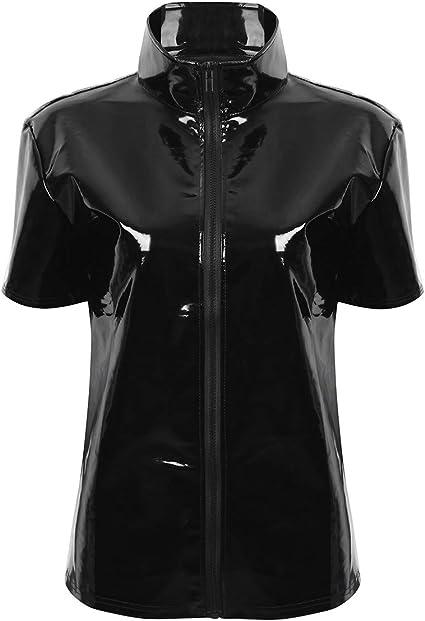 YiZYiF Camiseta de Cuero Hombres Wetlook Camisa Punk Top Ajustado Chaleco Músculo Blusa de Charol Sexy Negro Manga Corta Pole Dance Nightwear