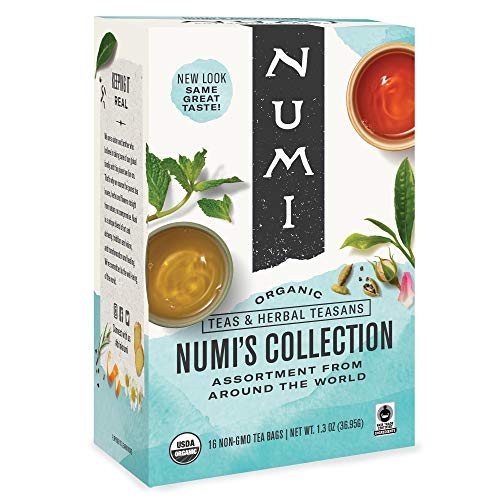 Numi Organic Tea Numi's Collection Variety Pack, 16 Count Box of Tea Bags - Black, Green, White, Pu-erh, Mate, Chai, Rooibos & Herbal Teas (Packaging May Vary)