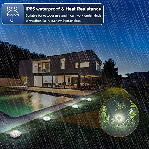 Aogist Solar Ground Lights,8 LED Garden Lights Patio Disk Lights In-Ground Outdoor Landscape Lighting for Lawn Patio Pathway Yard Deck Walkway