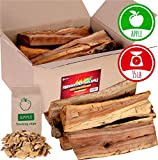 Apple firewood logs 15lbs and Wood Chips - Fire logs for Fireplace - Cooking Wood for BBQ and Smoking