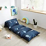 Mengersi Galaxy Kids Floor Pillow Case Bed Cover, Boys Toddler Floor Pillow Cover, Requires 5 Pillows (Pillows Not Included) (King(Cover Only), Navy)