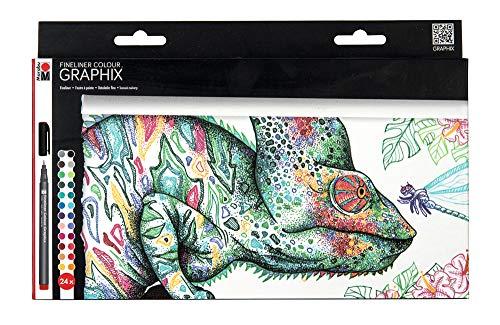 Marabu 0146000000103 - Fineliner Graphix, Set Hypnotize, 24 brillante Farben, Strichstärke ca. 0,5 mm, wasserbasierte Pigmenttusche, metallgefasste Kunststoffspitze