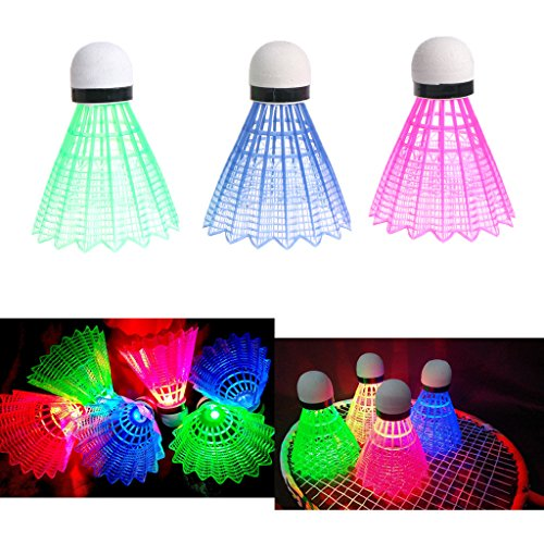 lpyfgtp 3 LED Glowing Light up Kunststoff Badminton Federbälle Bunt Beleuchtung Bälle für Sport Aktivitäten, Red Blue Green Mixed Colors