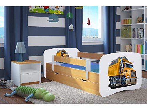 Kinderbett LKW 70 cm x 140 cm mit Sicherheitsgitter + Lattenrost + Schubladen + Matratze - Chene Clair