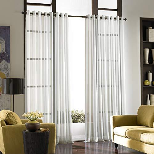 "Curtainworks 1Q804304WI Soho Voile Sheer Grommet Panel, 59 by 144"", Winter White"