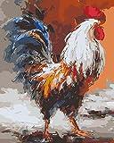 KXGZ Set De Bricolaje para Pintar 40*50cm Niños para DIY Pintura para Pinceles Y Colores Decoraciones para El Hogar Juego De Pintura Acrílica -Gallo Animal