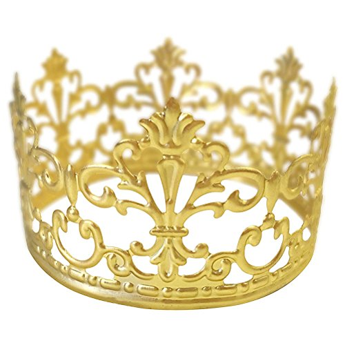 BESTONZON Gold Crown Cake Topper Gold Wedding/Birthday Cake Decoration para King, Queen, Prince and Princess Party (Gold)