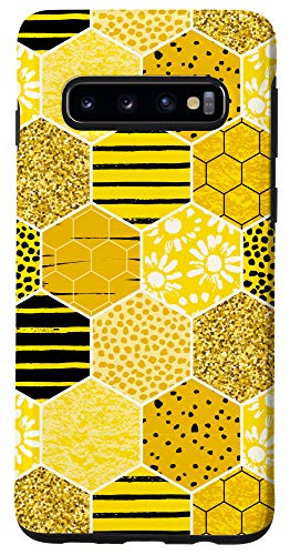 Galaxy S10 Abstract Honeycomb Bumble Bee Geometric Phone Case