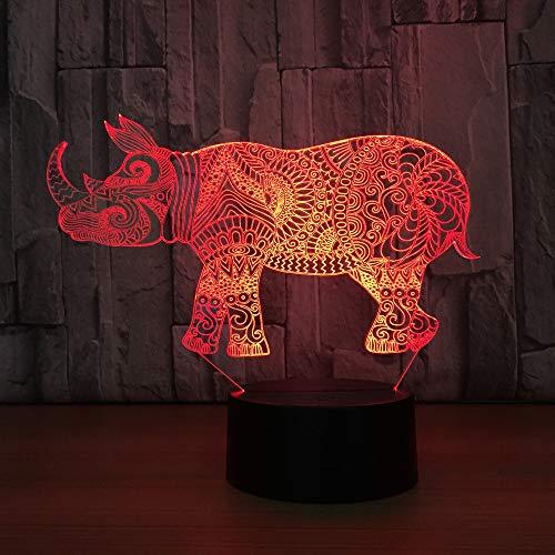 XKALXO Rhino 3D Kleine Nachtlampe Hersteller Bunte Bunte Led Nachtlicht Smart Home Decoration 3D Leuchten Drop Shipping In Led Nachtlichter Von Lichtern