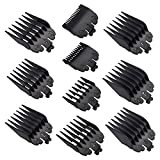"""YINKE Clipper Guards Premium for Wahl Clippers Trimmers-10 Cutting Lengths from 1/16"""" to 1""""(3-25mm) Fits All Full Size Wahl Clippers (pack of 10) (Black)"""