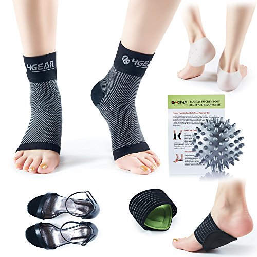 4GEAR SPORTLIFE 4G Plantar Fasciitis Foot Pain Relef & Recovery Kit - Compression Sleeves, Heel Spur Wraps, Cushioned Arch Supports, Gel Inserts & Spiky Massage Ball - Fast Pain Relief (L/XL)