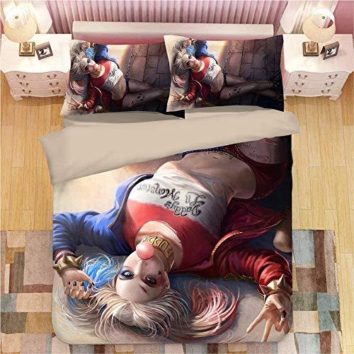 IITaozi Juego de ropa de cama – 3D impreso juego de suministros de cama, 1 funda de almohada, 2 fundas de almohada, universidades, King (tamaño: King, color: Harley Quinn 5)