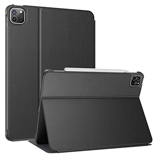 Soke Case For New iPad Pro 11 Inch 2021, Folio Stand Magnetic Smart Cover with Auto Sleep/Wake, Premium PU Leather Hard Back Cover for iPad Pro 11 3rd Generation, Black