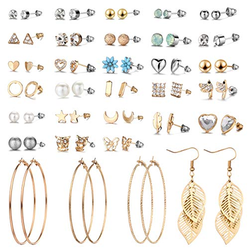 29 Pairs Assorted Multiple Stud Earrings set for Women Girls Simple Hoop earring set Girl's jewelry  Amazon.com  (E0848-2)
